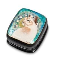 Шкатулка Федоскино «Кошка» (художник Федяева)