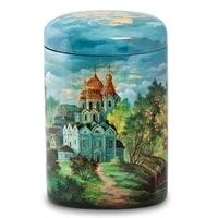 Портсигар Федоскино «Монастырь» (художник Ларина)