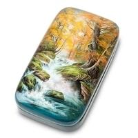 Шкатулка Федоскино «Водопад» (художник Ларина)