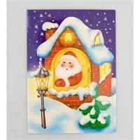 """16057 Открытка """"Дед мороз в окошке"""""""