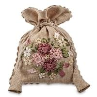 Подарочный мешочек из льна «Цветочная фантазия» LK-03
