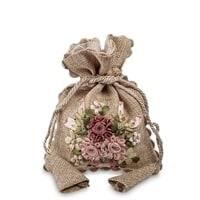 Подарочный мешочек из льна «Цветочная фантазия» LK-04
