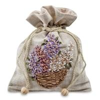 Подарочный мешочек из льна «Цветочная корзина» LK-13