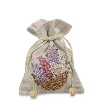 Подарочный мешочек из льна «Цветочная корзина» LK-14