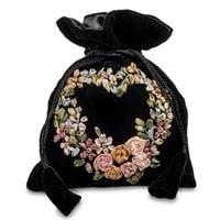 Подарочный мешочек из вельвета «Цветочное сердце» LK-17