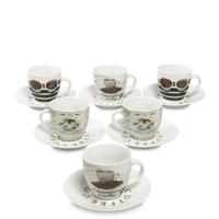 Кофейный набор из 6 фарфоровых кружек с блюдцами RX-01