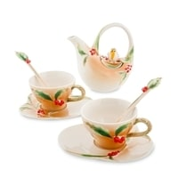Чайный набор из фарфора «Пташка на падубе» на 2 персоны FM-40/3 (Pavone)