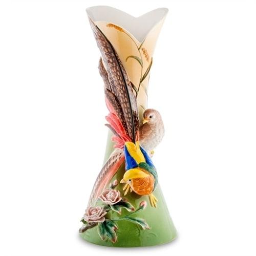 Ваза для цветов из фарфора «Золотой фазан» (Pavone)