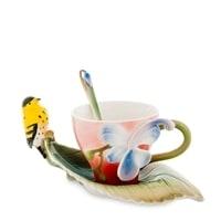 Чайная пара из фарфора «Иволга и Орхидея» FM-81/2 (Pavone)