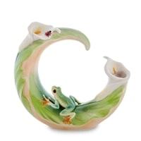 Ваза для цветов из фарфора «Лягушка на лилии» FM-72/5 (Pavone)