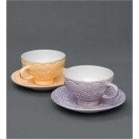 Чайный набор из костяного фарфора на 2 персоны «Белла Мария» сиреневый/оранжеывй AS-03