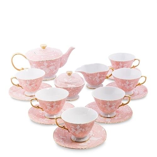 Чайный сервиз из костяного фарфора на 6 персон «Фиоре Дорато» AS-41 (Pavone)