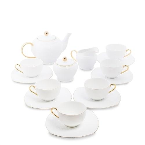 Чайный сервиз из костяного фарфора на 6 персон «Оро Бьянко» AS-47 (Pavone)