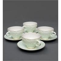 Чайный набор из костяного фарфора на 4 персоны «Лаце Росса» зеленый AS-04