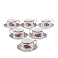 """Чайный набор из костяного фарфора на 6 персон """"Восточное Поло"""" JK-42 (Pavone)"""