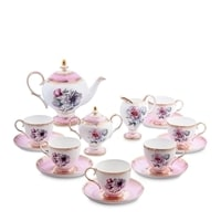 "Чайный сервиз из костяного фарфора на 6 персон ""Цветок Неаполя"" JK-124 (Fiore Napoli Pavone)"