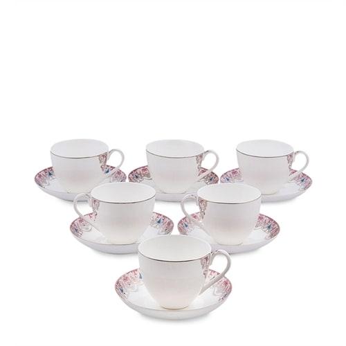 """Чайный набор из костяного фарфора на 6 персон """"Каприз Примадонны"""" JK-02 (Pavone)"""