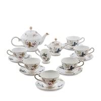 """Чайный сервиз из костяного фарфора на 6 персон """"Райский сад"""" JK-46 (Pavone)"""