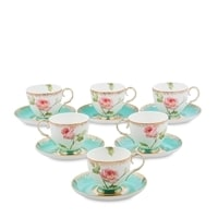"""Чайный набор из костяного фарфора на 6 персон """"Роза"""" JK-67 (Milano Rose Pavone)"""