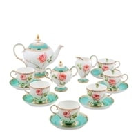 """Чайный сервиз из костяного фарфора на 6 персон """"Роза"""" JK-68 (Milano Rose Pavone)"""