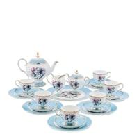 "Чайный сервиз из костяного фарфора на 6 персон ""Цветок Неаполя"" JK-132 (Fiore Napoli Pavone)"