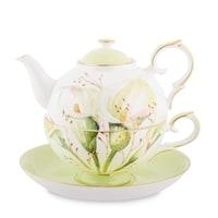 """Чайный набор из костяного фарфора """"Калла"""" JK-78 (Calla Charme Pavone)"""