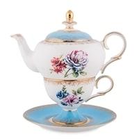 """Чайный набор из костяного фарфора """"Цветок Неаполя"""" JK-134 (Fiore Napoli Pavone)"""