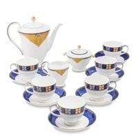 Чайный сервиз из костяного фарфора на 6 персон «Золотой Палермо» JK-195 (Gold Palermo Pavone)