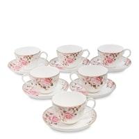 """Чайный набор из костяного фарфора на 6 персон """"Монте-Роза"""" JK-207 (Monte Rosa Pavone)"""