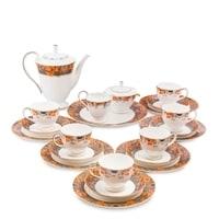 """Чайный сервиз из костяного фарфора на 6 персон """"Риомаджоре"""" JK-217 (Riomaggiore Pavone)"""