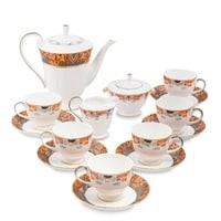 """Чайный сервиз из костяного фарфора на 6 персон """"Риомаджоре"""" JK-218 (Riomaggiore Pavone)"""