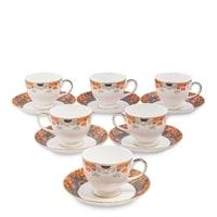 """Чайный набор из костяного фарфора на 6 персон """"Риомаджоре"""" JK-223 (Riomaggiore Pavone)"""