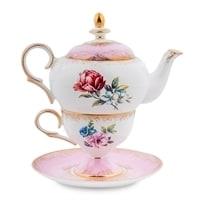 """Чайный набор из костяного фарфора """"Цветок Неаполя"""" JK-127 (Fiore Napoli Pavone)"""