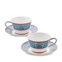 Чайный набор из костяного фарфора на 2 персоны «Арабески» JK-170 (Arabesca Blue Pavone)