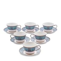 Чайный набор из костяного фарфора на 6 персон «Арабески» JK-171 (Arabesca Blue Pavone)