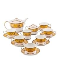 Чайный сервиз из костяного фарфора на 6 персон «Арабески» JK-178 (Arabesca Yellow Pavone)