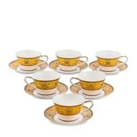 Чайный набор из костяного фарфора на 6 персон «Арабески» JK-177 (Arabesca Yellow, Pavone)
