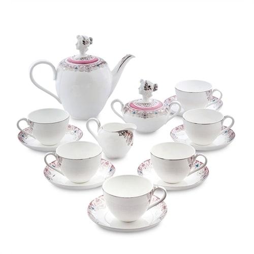 """Чайный сервиз из костяного фарфора на 6 персон """"Примадонна"""" JK-01 (Pavone)"""