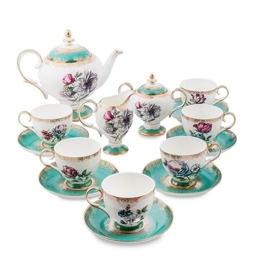 """Чайный сервиз из костяного фарфора на 6 персон """"Цветок Неаполя"""" JK-20 (Pavone)"""