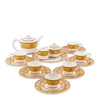 """Чайный сервиз из костяного фарфора на 6 персон """"Арабески"""" JK-179 (Arabesca Yellow Pavone)"""