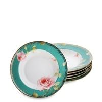 Набор из 6 суповых тарелок «Роза» JK-228 (Milano Rose Pavone)