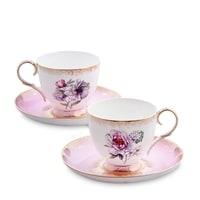Чайный набор из костяного фарфора на 2 персоны «Цветок Неаполя» JK-121 (Fiore Napoli Pavone)