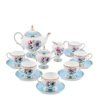 "Чайный сервиз из костяного фарфора на 6 персон ""Цветок Неаполя"" JK-131 (Fiore Napoli Pavone)"