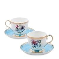 """Чайный набор из костяного фарфора на 2 персоны """"Цветок Неаполя"""" JK-128 (Fiore Napoli Pavone)"""