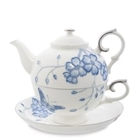 Чайный набор из фарфора «Голубая бабочка» JS-33 (Pavone)