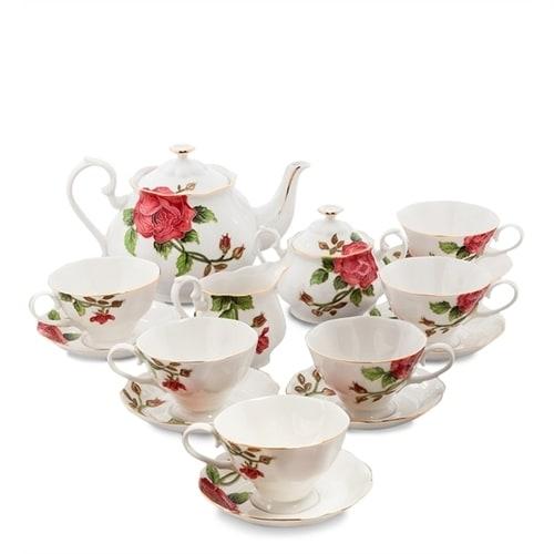Чайный сервиз из фарфора на 6 персон «Золотая Роза Рафаэлло» JS-13 (Pavone)