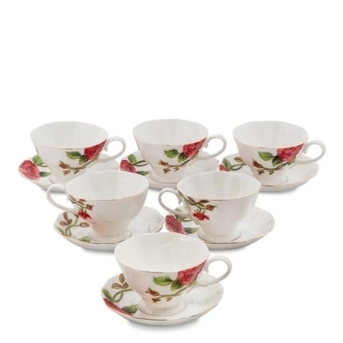 Чайный набор из фарфора на 6 персон «Золотая Роза Рафаэлло» JS-15 (Pavone)
