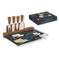 Набор для сыра: разделочная доска из стекла и 4 ножа «Мир сыров»