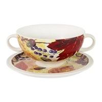Суповая чашка на блюдце «Кленовый лист»