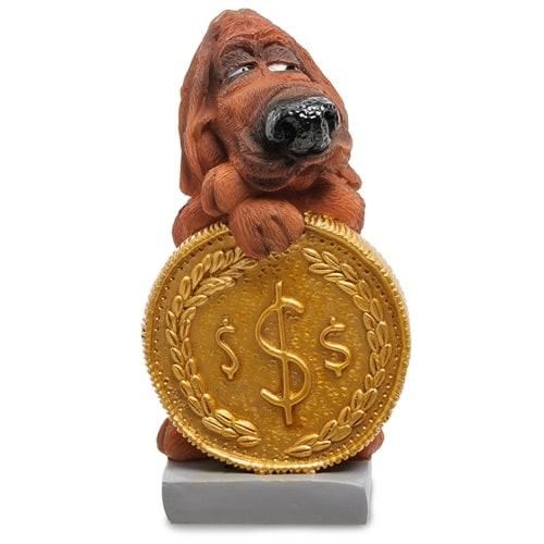Статуэтка Собака Блуд-хаунд «Монета на удачу» RV-913 (W. Stratford)